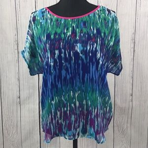 Express Sheer Colorful Cold Shoulder Blouse